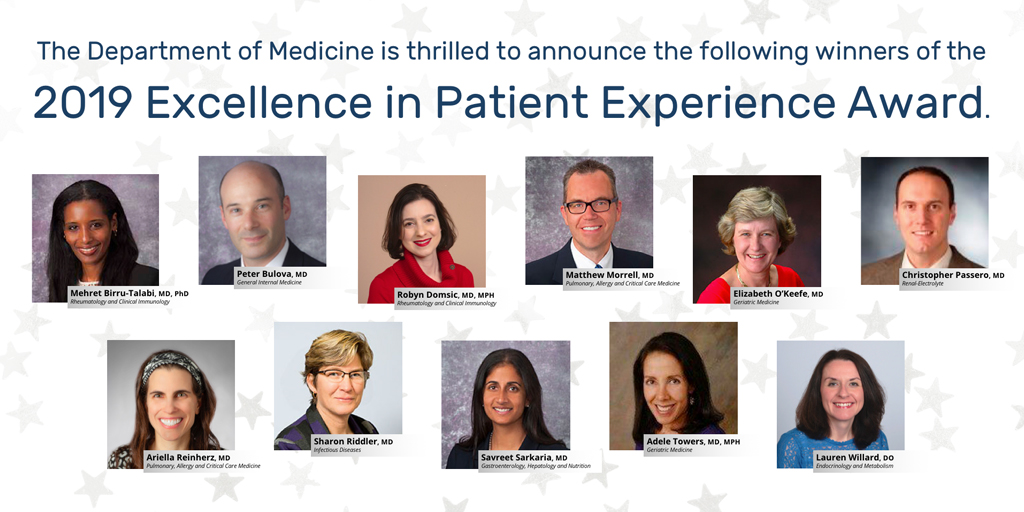 Department of Medicine Faculty Receive Excellence in Patient Experience Awards